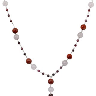 Orchid Jewelry 925 Sterling Silver 74 1/2 Carat Red Jasper, Rose Quartz and Garnet Gemstone Necklace