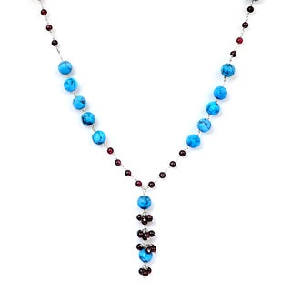 Orchid Jewelry 925 Sterling Silver 71 1/2 Carat Turquoise and Garnet Necklace