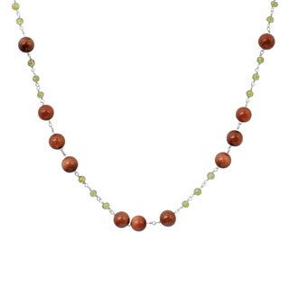 Orchid Jewelry 925 Sterling Silver 58 2/5 Carat Sunstone and Peridot Gemstone Necklace