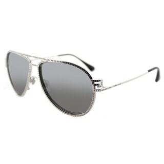 Versace VE 2171B 10006G Greca Stars Silver Metal Aviator Silver Mirror Lens Sunglasses