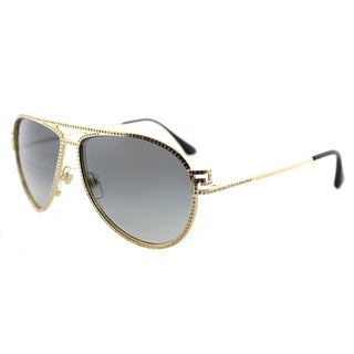 Versace VE 2171B 100211 Greca Stars Gold Metal Aviator Grey Gradient Lens Sunglasses