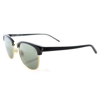 Saint Laurent SL 108 003 Black Plastic Round Green Lens Sunglasses