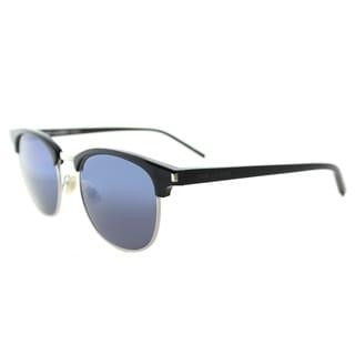 Saint Laurent SL 108 004 Black Plastic Round Blue Mirror Lens Sunglasses