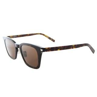 Saint Laurent SL 138 SLIM 003 Dark Havana Plastic Square Brown Lens Sunglasses