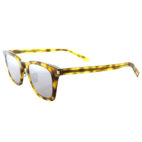 Saint Laurent SL 138 SLIM 004 Blonde Havana Plastic Square Silver Mirror Lens Sunglasses