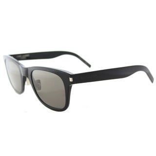 Saint Laurent SL 51 SLIM 001 Black Plastic Rectangle Grey Crystal Lens Sunglasses
