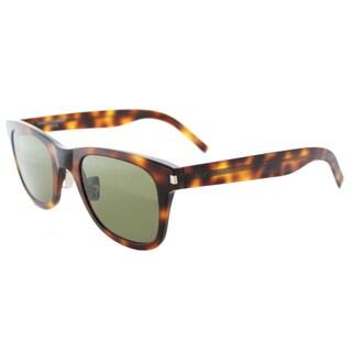 Saint Laurent SL 51 SLIM 002 Havana Plastic Rectangle Green Crystal Lens Sunglasses