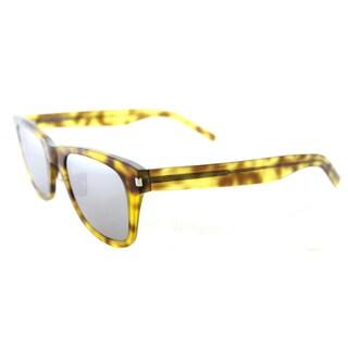Saint Laurent SL 51 SLIM 004 Blonde Havana Plastic Rectangle Silver Mirror Lens Sunglasses
