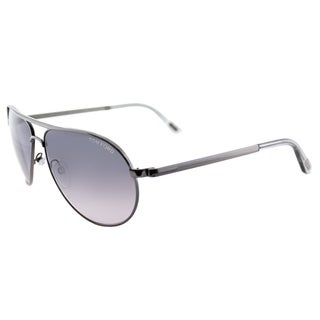 Tom Ford TF 144 08B Marko Shiny Gunmetal Metal Aviator Grey Gradient Lens Sunglasses