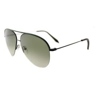 Victoria Beckham VBS 90 C16 Classic Victoria Green Leather Black Metal Aviator Dover Street Green Lens Sunglasses