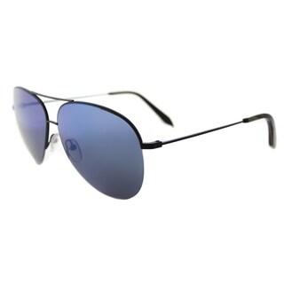 Victoria Beckham VBS 90 C38 Classic Victoria Matte Black Metal Aviator Oasis Mirror Lens Sunglasses