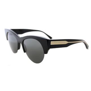 Victoria Beckham VBS 91 C01 Supra Kitten Shiny Black Gold Plastic Cat-Eye Black Mirror Lens Sunglasses