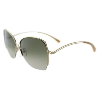 Victoria Beckham VBS 96 C10 Fine Wave Shiny Gold Metal Square Moss Green Gradient Lens Sunglasses