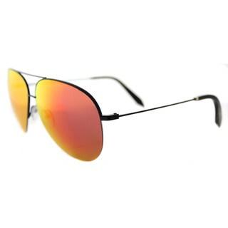 Victoria Beckham VBS 98 C04 Large Classic Victoria Shiny Black Metal Aviator Blaze Mirror Lens Sunglasses
