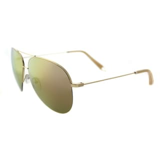 Victoria Beckham VBS 98 C05 Large Classic Victoria Shiny Gold Metal Aviator Desert Rose Mirror Lens Sunglasses