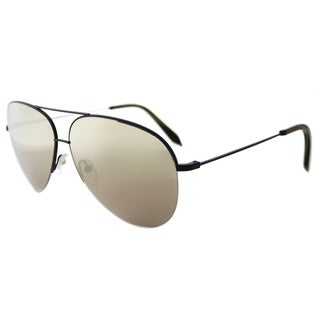 Victoria Beckham VBS 98 C10 Large Classic Victoria Matte Black Metal Aviator Mirage Mirror Lens Sunglasses