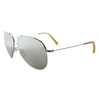 Victoria Beckham VBS 98 C13 Large Classic Victoria Shiny Silver Metal Aviator North Star Mirror Lens Sunglasses