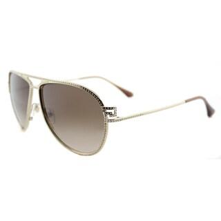 Versace VE 2171B 125213 Greca Stars Pale Gold Metal Aviator Brown Gradient Lens Sunglasses
