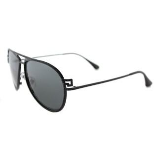 Versace VE 2171B 125687 Greca Stars Matte Black Metal Aviator Grey Lens Sunglasses