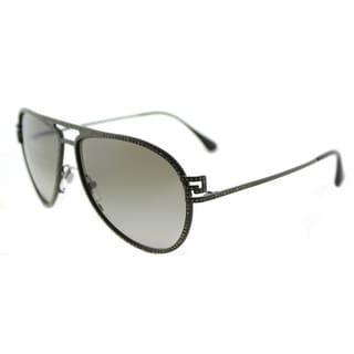 Versace VE 2171B 13928E Greca Stars Matte Military Green Metal Aviator Green Gradient Lens Sunglasses