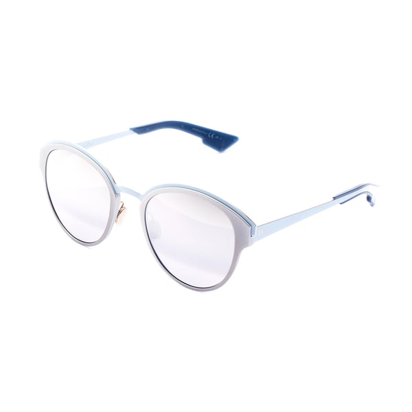 712d39fd82e Shop Dior Dior Sun S RCV 96 Matte Silver Blue Metal Round Silver Mirror  Lens Sunglasses - Free Shipping Today - Overstock - 13290104