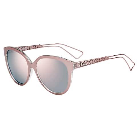 Dior Diorama 1/S TGW 0J Pink Crystal Metal Square Rose Gold Mirror Lens Sunglasses