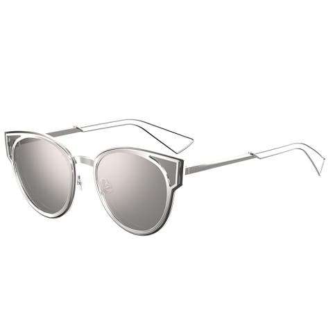 7021f37fc8b2 Dior Sculpt/S 010 DC Palladium Metal Cat-Eye Silver Mirror Lens Sunglasses