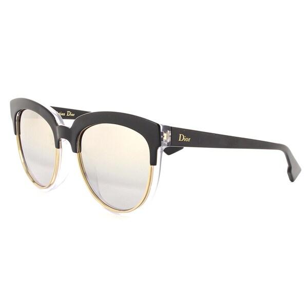 ca4e0bb02d26d Shop Dior Dior Sight 1 S K4X 96 Black Crystal Metal Cat-Eye Silver ...