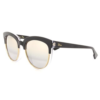 Dior Dior Sight 1/S K4X 96 Black Crystal Metal Cat-Eye Silver Mirror Lens Sunglasses