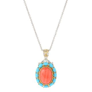One-of-a-kind Michael Valitutti Palladium Silver Sleeping Beauty Turquoise Halo and Salmon Bamboo Coral Pendant