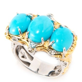 Michael Valitutti Palladium Silver Sleeping Beauty Turquoise and Swiss Blue Topaz Cocktail Ring