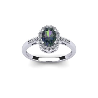 3/4 Carat Oval Shape Mystic Topaz and Halo Diamond Ring In 14K White Gold