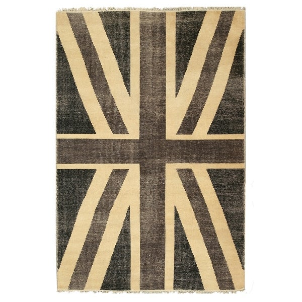 Shop Hand Knotted Wool Black Casual Flag Union Jack