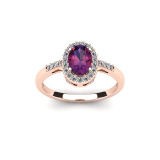 3/4 Carat Oval Shape Amethyst and Halo Diamond Ring In 14K Rose Gold