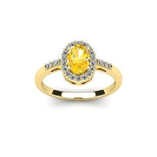 1/2 Carat Oval Shape Citrine and Halo Diamond Ring In 14K Yellow Gold