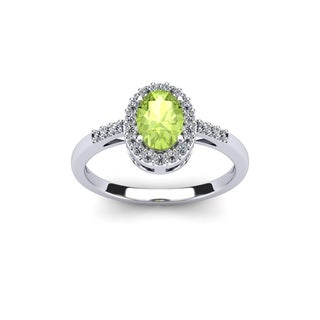 1 Carat Oval Shape Peridot and Halo Diamond Ring In 14K Yellow Gold