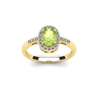 1 Carat Oval Shape Peridot and Halo Diamond Ring In 14K Rose Gold