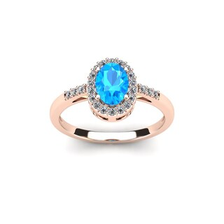 1 TGW Oval Shape Blue Topaz and Halo Diamond Ring In 14K Rose Gold