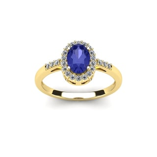 1 Carat Oval Shape Tanzanite and Halo Diamond Ring In 14K Yellow Gold