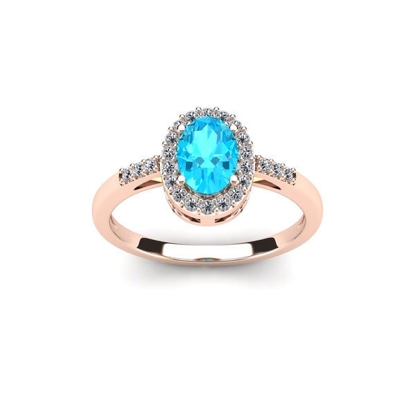 Shop 1 TGW Oval Shape Aquamarine And Halo Diamond Ring In