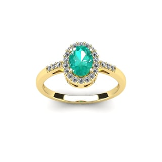 1 TGW Oval Shape Emerald and Halo Diamond Ring In 14K Yellow Gold - Green