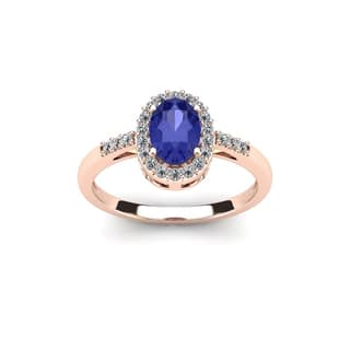 1 TGW Oval Shape Tanzanite and Halo Diamond Ring In 14K Rose Gold - Blue|https://ak1.ostkcdn.com/images/products/13290332/P20001420.jpg?impolicy=medium