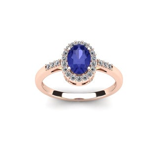 1 TGW Oval Shape Tanzanite and Halo Diamond Ring In 14K Rose Gold - Blue
