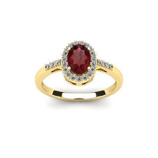 1 TGW Oval Shape Garnet and Halo Diamond Ring In 14K Yellow Gold