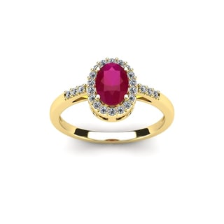 1 Carat Oval Shape Ruby and Halo Diamond Ring In 14K Yellow Gold