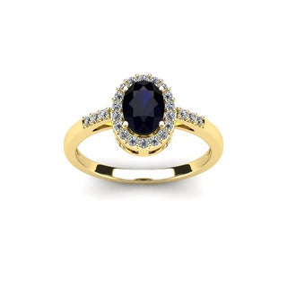 1 TGW Oval Shape Sapphire and Halo Diamond Ring In 14K Yellow Gold