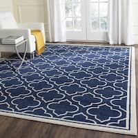 Safavieh Amherst Indoor/ Outdoor Navy/ Ivory Rug - 11' x 16'