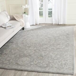 Safavieh Bella Contemporary Handmade Grey/ Silver Wool Rug (11' x 15')