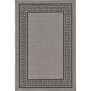 Contemporary Grey Outdoor Rug with Geometric Border (5'2 x 8')