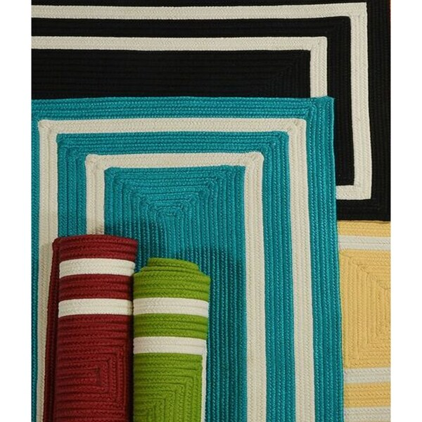 All-Season Multicolored Border Indoor/Outdoor Braided Reversible Rug USA MADE - 7' x 9'